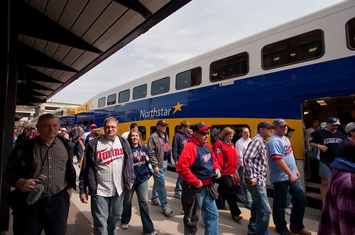 Passegers Detrain Northstar at Target Field Station on Opening Day; Minneapolis, MN | by Ottergoose
