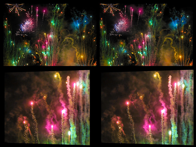 A Fireworks Display In Detail :: Cross View Stereoscopic 3D ::