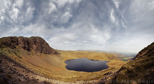 Lake District Soul Surfing Blues. Stickle Tarn & Pavey Ark Panorama, seen from half way up Harrison Stickle.