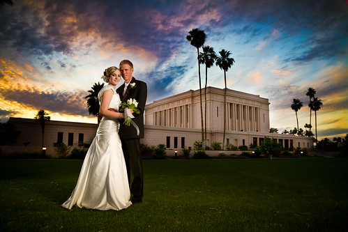 wedding sunset arizona canon temple groom bride saturated 7d lds mesa strobist