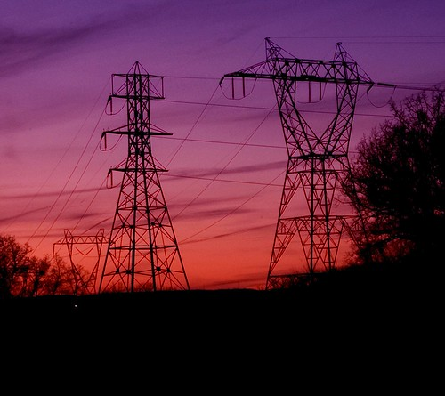 sunset purple towers electrical hightension