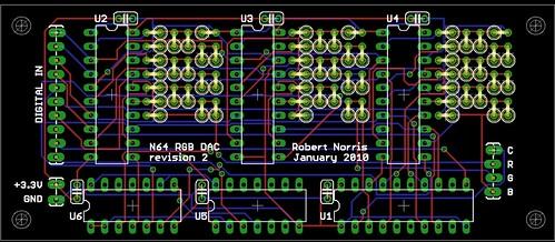 N64 RGB DAC rev2 - board layout | by fce2