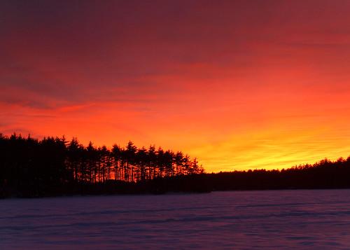 winter sunset sky lake snow cold tree ice clouds landscape evening frozen nh e30 zd1260