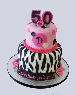 Remarkable 50Th Birthday Pink And Black Zebra Print Monogram Birthday Flickr Funny Birthday Cards Online Necthendildamsfinfo
