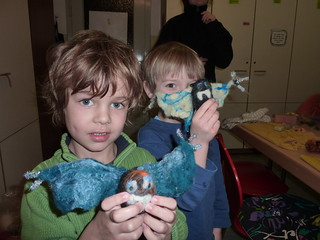 Happy boys with handmade bat puppets! | by herbe_d