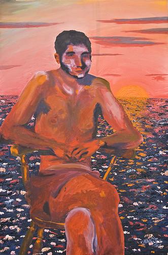 sunset sea portrait orange color water alan sunrise nude warm paint chairs kitsch oil 2009 bodies underpants