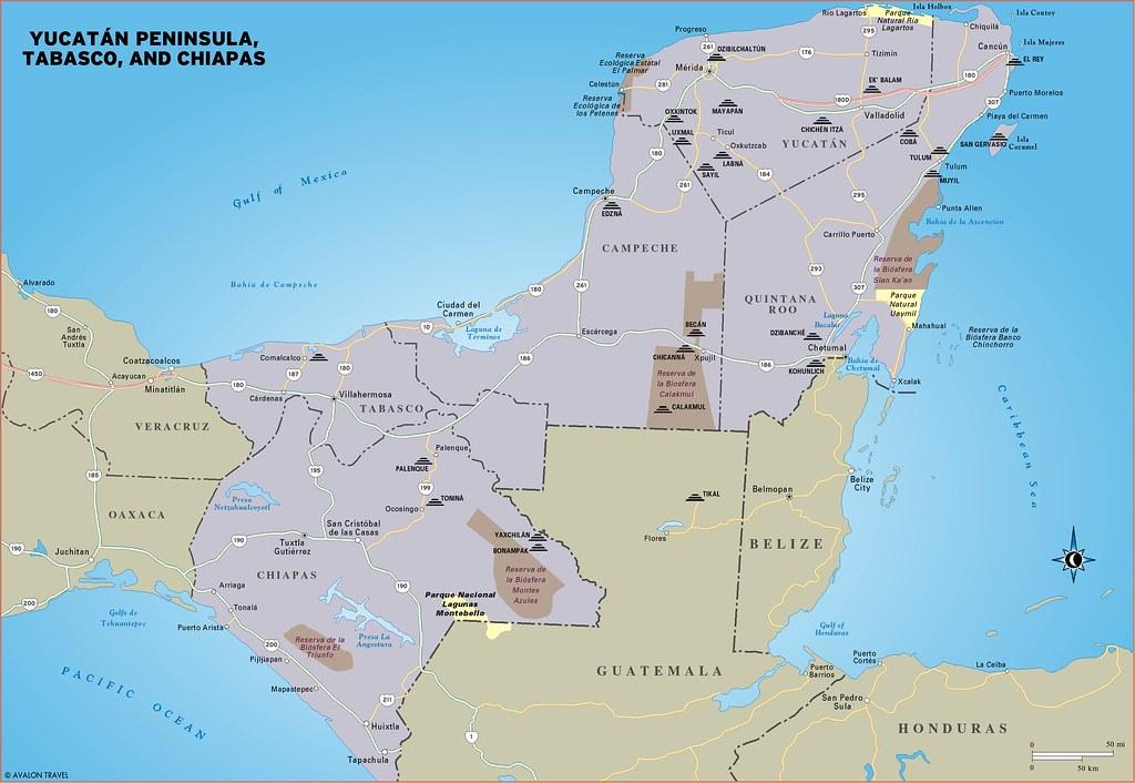 Yucatan Peninsula travel map from Moon Yucatan Peninsula | Flickr