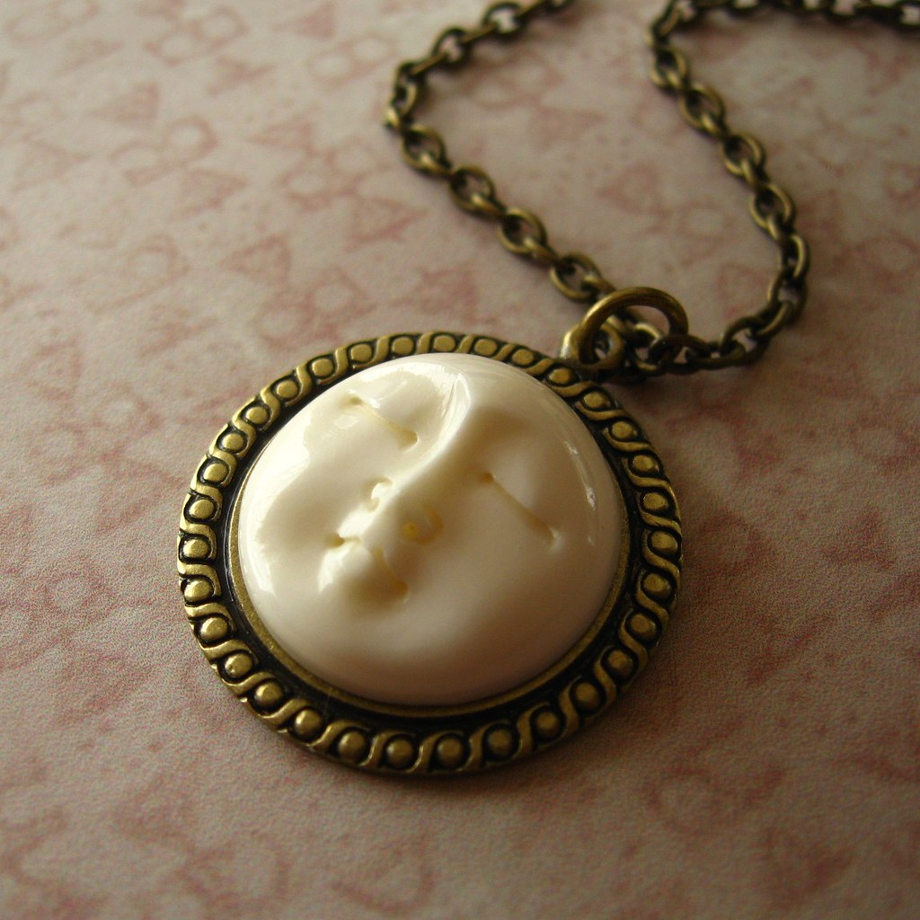 Carved Bone Moon Face Necklace Another Nesting Nomad Handc Flickr