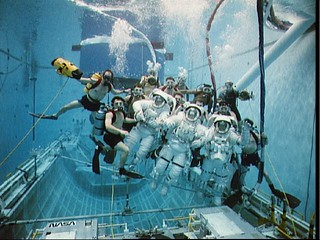 STS-49 INTELSAT VI-R WETF exercise with astronauts Musgrave, Clifford, Voss | by NASA on The Commons
