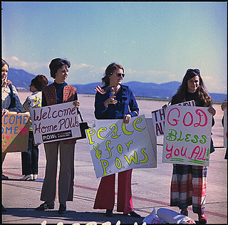 Photograph of Marine Wives at Camp Pendleton, California Waiting for the Return of Prisoners of War, 02/12/1973.