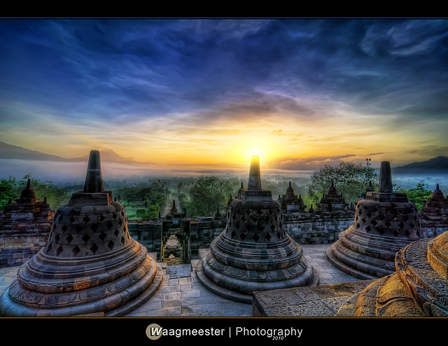 Hazy sunrise at Borobudur in HDR