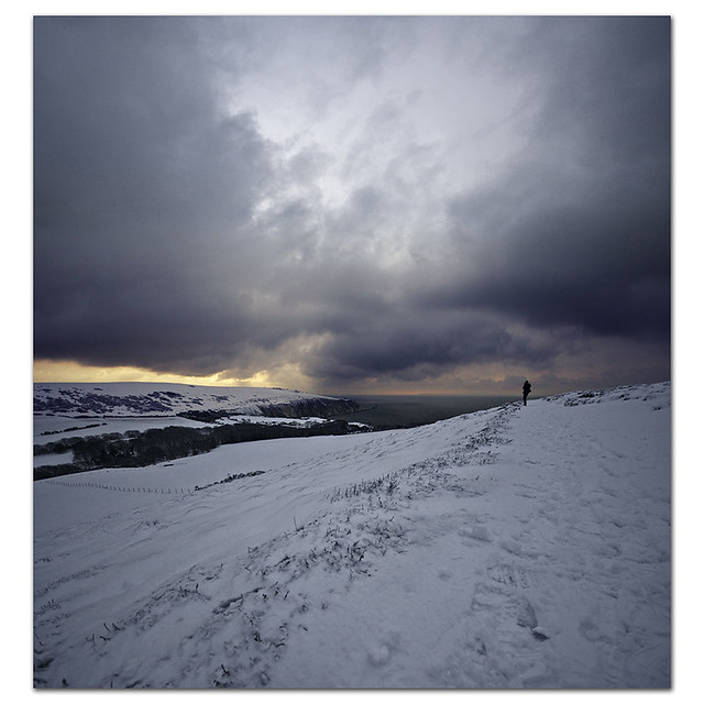 The loneliness of the landscape photographer.... Snow on Headon Warren, Isle of Wight, UK.