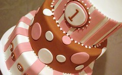 Brown & Pink 1st Birthay Cake | by wickedcakechick