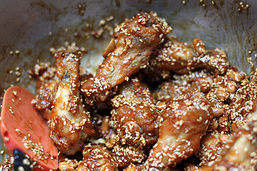 finished sweet and sour chicken wings | by David Lebovitz