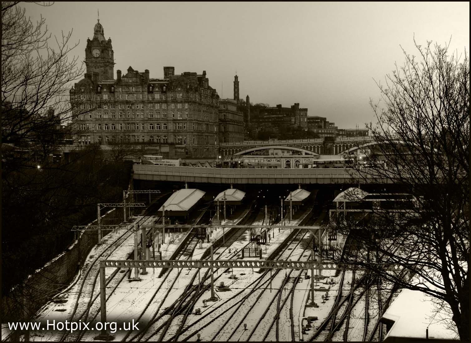 rail,way,railway,mainline,main,line,station,british,edinburgh,waveley,waverley,wavey,davey,snow,december,midlothian,scotland,capital,city,sepia,b/w,black,white,lines,tracks,hotel,2009,xmas,christmas,tonysmith,tony,smith,hotpics,hotpic,hotpick,hotpicks,building,buildings,built,architecture,edinbrugh,hotpix!,Edinburg,#tonysmithhotpix,edimburgh