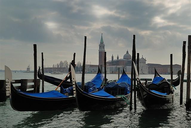 San Giorgio, gondolas and clouds, Venezia © Bernard Grua 2010