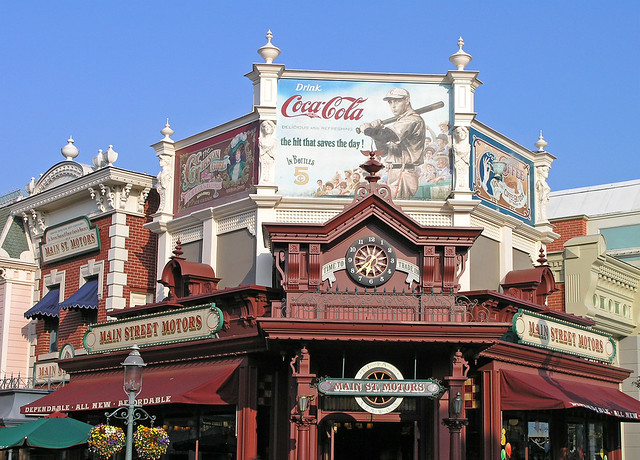 Disneyland Paris - main street building with an old coca cola ad