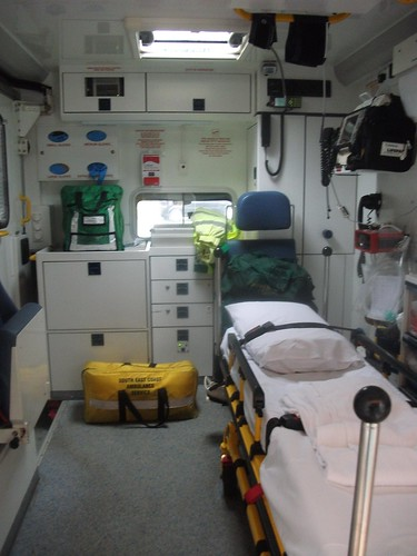 Inside the rear of RX56MTK Mercedes-Benz Sprinter Ambulance at Uckfield Ambulance Station | by Trojan631