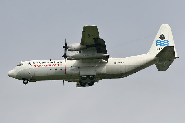 EI-JIV - 1976 build Lockheed L-100-30 Hercules, on approach to Runway 24R at Manchester