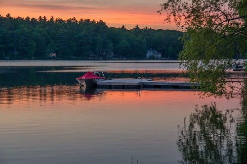 lincolnville maine nortonpond sunset dock boats reflections vacationland