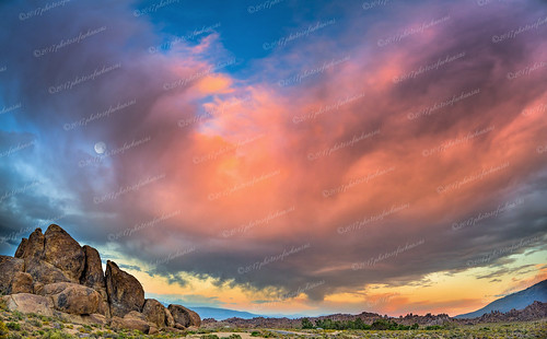 ccc Sunset and moonrise over the Alabama Hills Sierra Nevada Mtns | by Paul2660-1