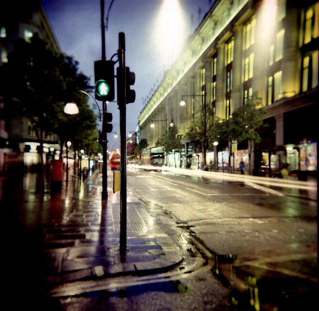 Oxford Street towards Marble Arch, 15 sec exposure