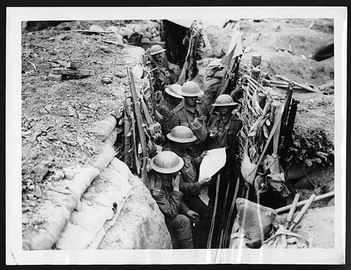 Reading the news in the trenches 1000 yards from the Bosch present positions | by National Library of Scotland