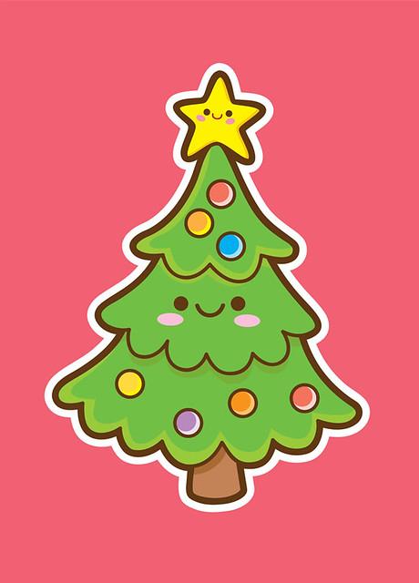 Kawaii Christmas.Kawaii Christmas Tree A Holiday Card Design 2009 Available