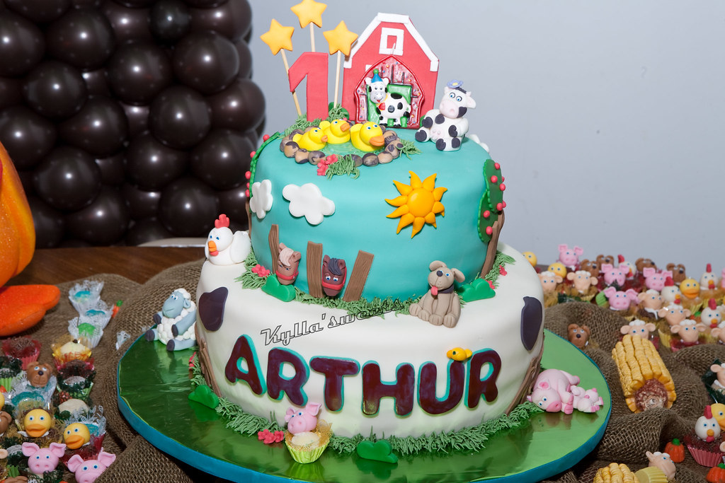 Magnificent Farm Themed Birthday Cake Marioli Photography My 1St Far Flickr Funny Birthday Cards Online Sheoxdamsfinfo