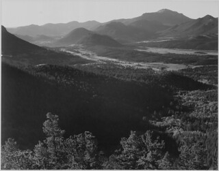 "Valley surrounded by mountains, ""In Rocky Mountain National Park,""Colorado. 