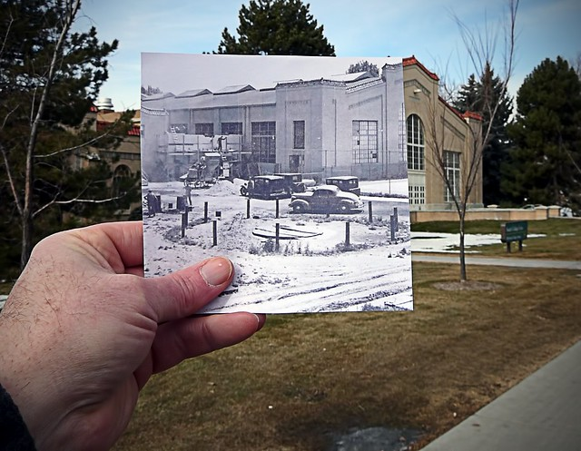 Colorado State University (Fort Collins) gymnasium, then and now (Glenn Morris Fieldhouse)
