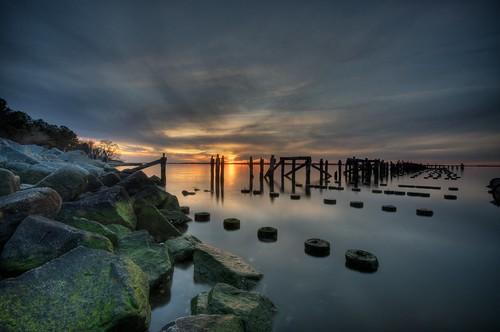 sky sun water clouds virginia pier suffolk moss rocks va hdr sunet jamesriver 3652010