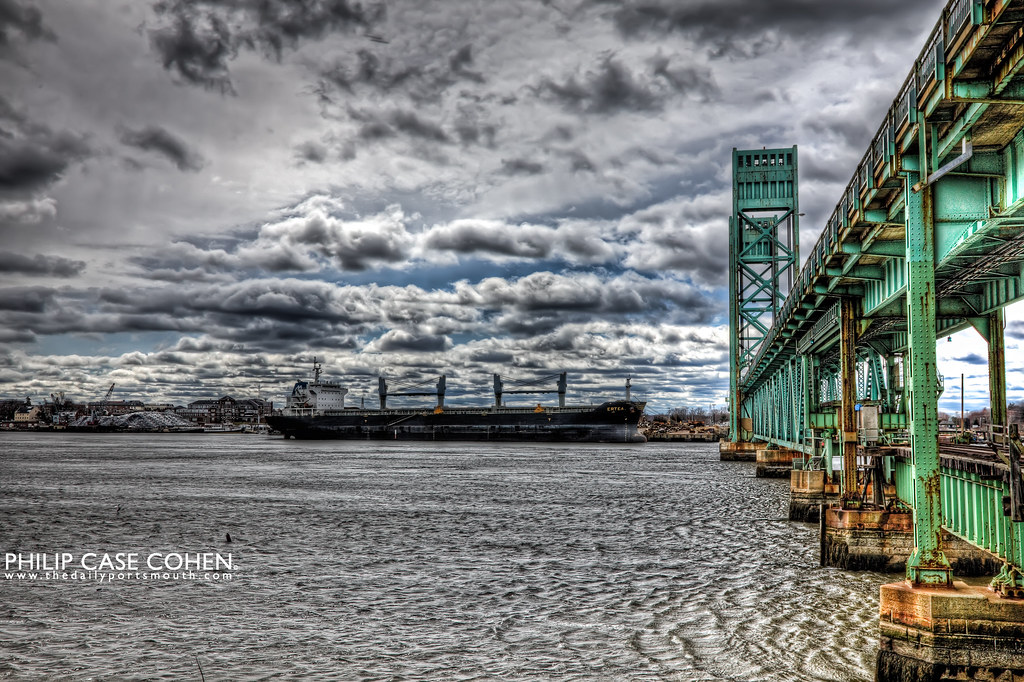 Middle Bridge & Freighter by Philip Case Cohen