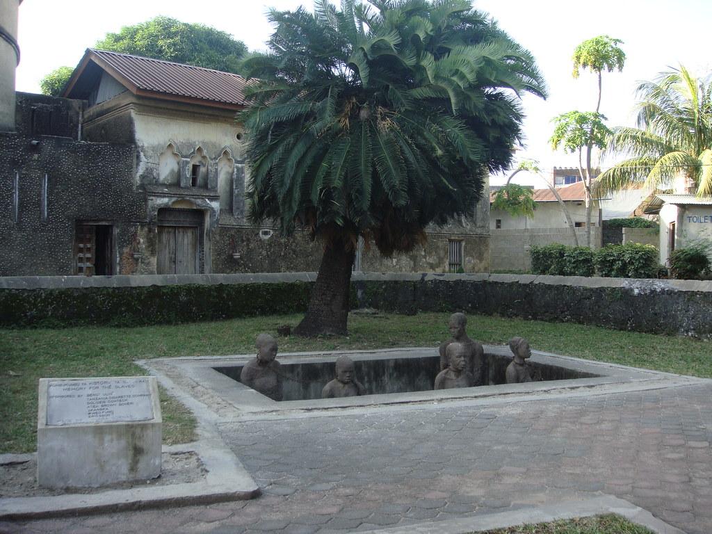 Memorial showing the old slave market Stonetown Zanzibar
