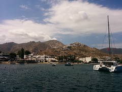 Hora from Livadi, boats at the harbour! Serifos