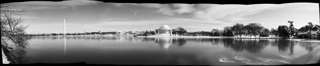 Tidal Basin in the Snow. B&W Stitch by lifeinthedistrict