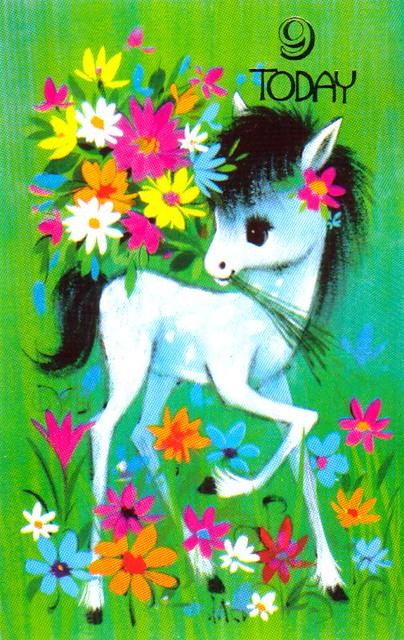 1970s Greeting Card - 9th Birthday