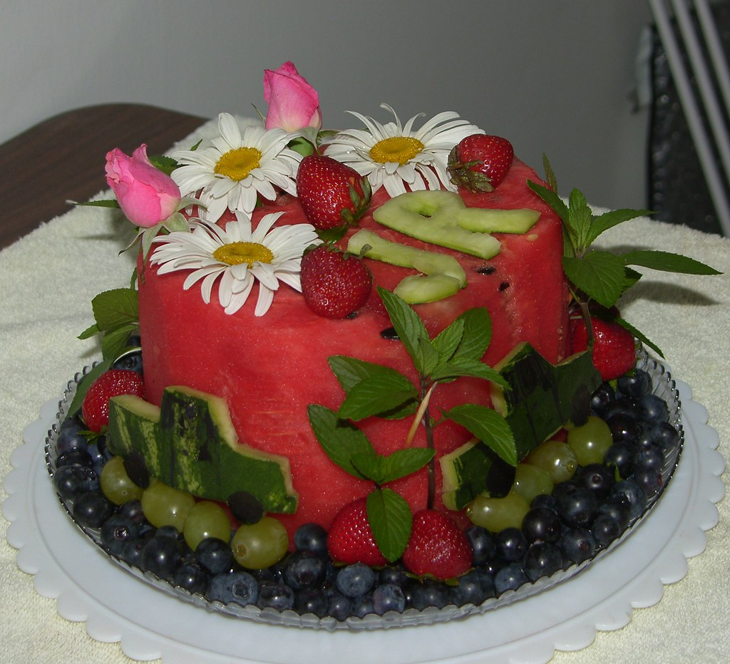 Astonishing Watermelon Birthday Cake Photo 2 This Is One Of My Husband Flickr Funny Birthday Cards Online Fluifree Goldxyz