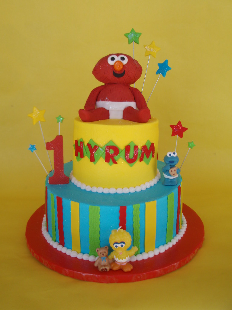 Sensational Baby Elmo 1St Birthday Cake A Baby Elmo Made Of Rice Krisp Flickr Personalised Birthday Cards Epsylily Jamesorg