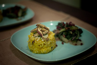Butternut Squash, Sage and Shiitake Mushroom Risotto with Chard, Pinenuts and Raisins | by phy5ics