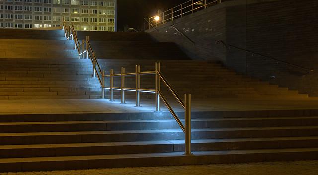illuminated stairs Riebeckplatz Halle/Saale