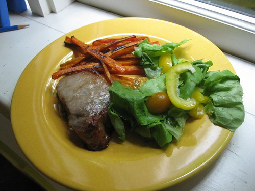 Pork Chop, Carrot Fries & Salad | by unicornparade