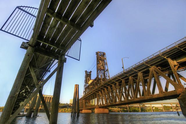 Sunset on Steel Bridge Portland Oregon 2 - HDR