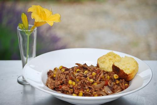 chicken chili and corn bread | by Steve A Johnson