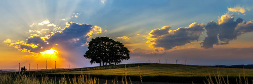 landscape panorama upper franconia trees sunset fields clouds