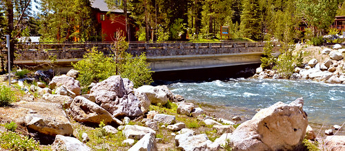 alpinemeadowroad bridge 19c0255 truckeeriver tahoecity truckee flowingwater rushingwater rocks pinetrees structure nevadacounty california joelach