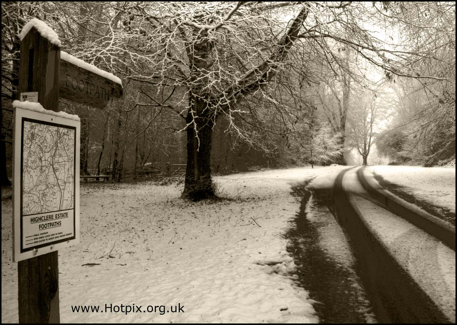snow,winter,trees,newbury,highclere,estate,castle,map,sepia,black,white,monochrome,finger,post,sign,foot,path,footpaths,lane,road,tracks,A34,Jeeves,Wooster,Stephen,Fry,Berkshire,England,RG20,east,woodhey,ashmansworth,whitway,broad,laying,penwood,woolton,hill,burgeclere,sydmonton,B/W,mono,hotpix!