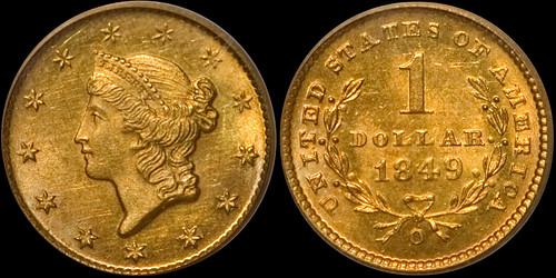 1849-O Gold $1.00 PCGS MS-64 | by RareGoldCoins.com