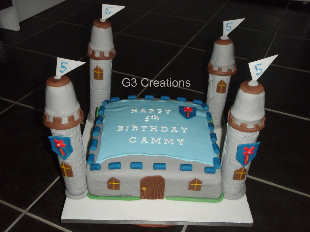 Marvelous Boys Medieval Castle Cake The Whole Cake With The Exceptio Flickr Funny Birthday Cards Online Overcheapnameinfo