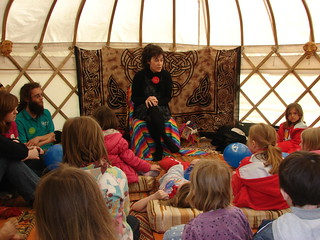 Emma telling a story in the yurt | by blethertaygither